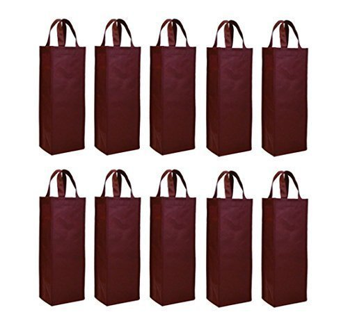 Elife Reusable Gift Bag, Single Bottle Wine Tote Holder Vineyard, 10 Pack (Gift Bag Balloon Weight)