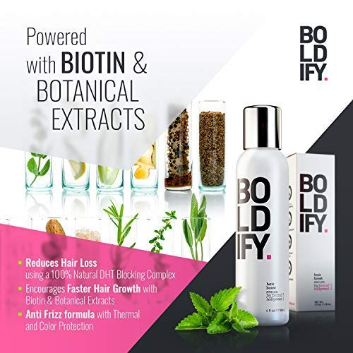 BOLDIFY 3X Biotin Hair Growth Serum - Get Thicker Hair Day One - Natural 3-in-1 Hair Regrowth Serum, Leave-In Conditioner & Blow Out Thermal Protectant for Thicker, Longer, Stronger Hair (4 Ounces)