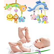 Kids Stroller and Travel Activity Toy, Baby Musical Bed Hanging Toys, Car Seat Stuffed Toys With Ringing Bell Mirror Wraps Around Crib Rail