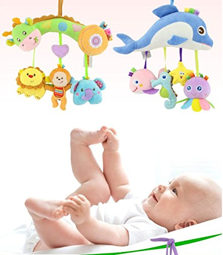 Qiyun Kids Stroller and Travel Activity Toy, Baby Musical Bed Hanging Toys, Car Seat Stuffed Toys With Ringing Bell Mirror Wraps Around Crib Railstyle:Marine animal by Qiyun