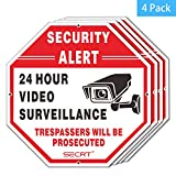 SECRT 4-Pack Video Surveillance Sign, No Trespassing Metal Warning, Octagon 12''x12'' 40Mil Thick Aluminum for Home Business CCTV Security Camera, UV Protected & Waterproof (Reflective)