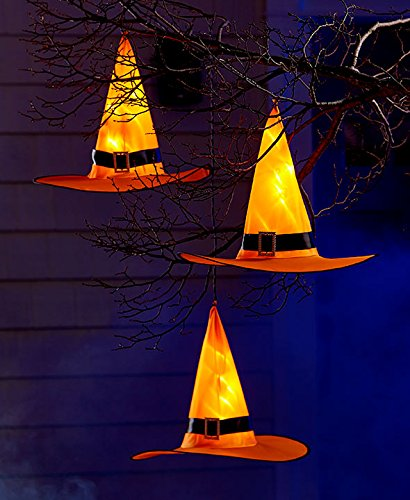 [Pre Lit Witch Hat Set of 3 Halloween Lighted Decoration] (Outdoor Witch Decorations)