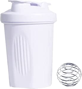 Protein Powder Blender Shaker Bottle w. Classic Loop Top& Stainless Whisk Ball-Perfect for Protein Shakes & Pre Workout,Wide Mouth Makes It Easy to Add Mix Scoops and Liquids-BPA free 16oz (White)