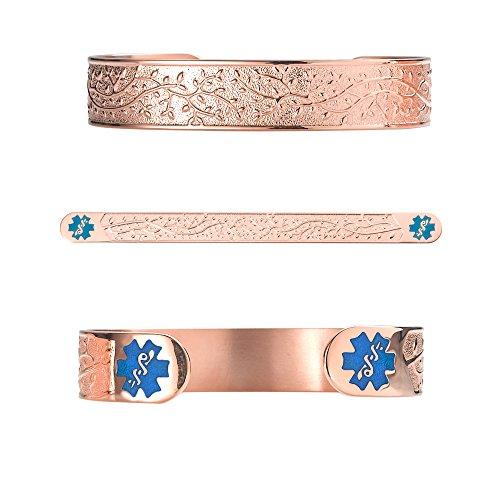 Divoti Deep Custom Laser Engraved Lovely Valentine Heart PVD Rose Gold 316L Medical Alert Bracelet - 6