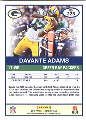 9732cbe0 Amazon.com: 2019 Score #225 Davante Adams Green Bay Packers Football Card:  Collectibles & Fine Art
