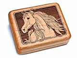 6x5'' Box With Black And Burlwood Knife - Arabian Horse