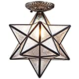 Bieye L10716 12-inch Moravian Star Tiffany Style Stained Glass Semi Flush Mount Ceiling Fixture,Suitable for Decorating Room (Favrile Glass)