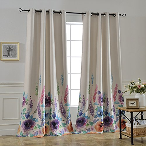 Cheap MYSKY HOME Floral Design Print Grommet top Thermal Insulated Faux Linen Room Darkening Curtains, 52 x 84 Inch, Purple, 1 Panel