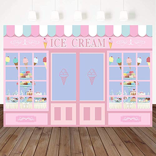 Mehofoto Ice Cream Theme Birthday Backdrop Dessert Shop Girl Background 7X5ft Vinyl Childrens Birthday Party Dessert Table Background Photo Booth Banner Decoration]()