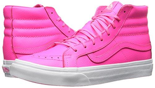 Vans Sk8-Hi Slim Neon Leather Sneaker Damen neonpink / weiß