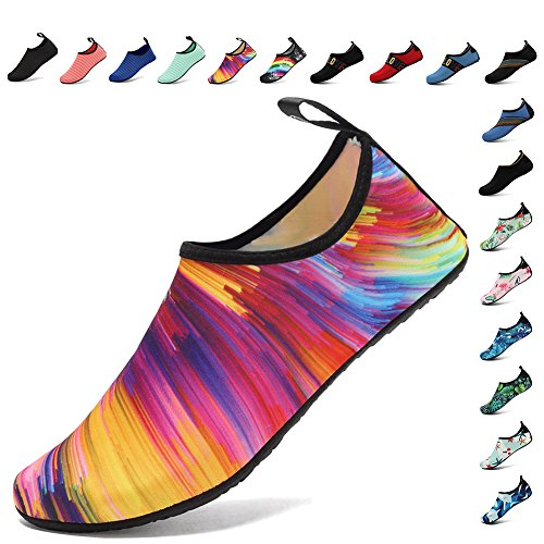 Lightweight Women and Men Aqua Water Shoes Quick-Dry Breather Sports Skin Barefoot Anti-Slip Multifunctional U4BSX001-L.orange-38/39