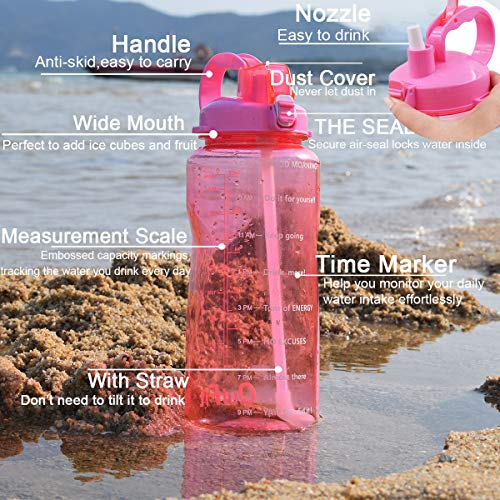 93518714fc96 QuiFit Gallon Sport Water Bottle with Drinking Straw and Motivational Time  Marker BPA Free Reusable 64/128 oz Large Capacity Ensure Your Daily Water  ...
