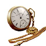1891 Antique Elgin H H Taylor Railroad Grade Pocket Watch 18s, 15 Jewel, Lever Set, Train Etched Case, Chain, Runs E2084