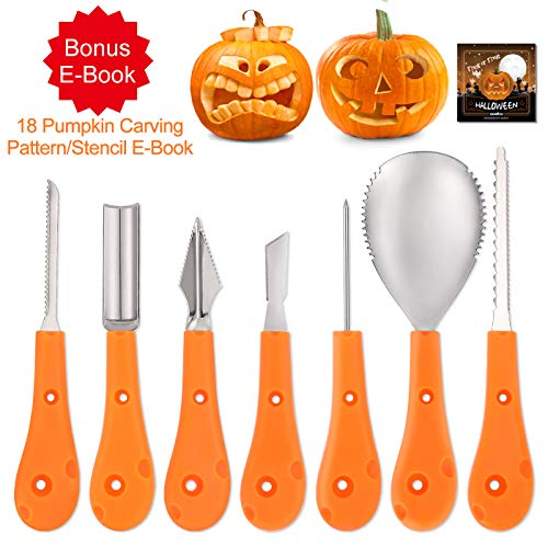 Professional Pumpkin Carving Kit with Stencils, Aozita 7 Piece Halloween Pumpkin Carving Tools Set(Plus 18 Pumpkin Lantern Pattern/Stencil E-Book), Premium Stainless Steel Tools with Ergonomic Handles -