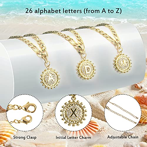 UHIBROSInitial Ankle Bracelets for Women Teen Girls, 14K Gold Plated Double Layered Initial Anklet Bracelet, Alphabet Letter Coin Pendant Jewelry for Beach, Party, Holiday-S