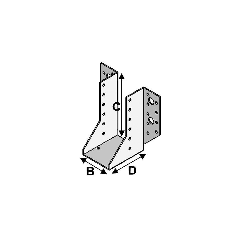 Sabot de charpente /à ailes ext/érieures 80 x 64 x 128 x 2,0 mm Fixtout P x l x H x /ép Fixtout