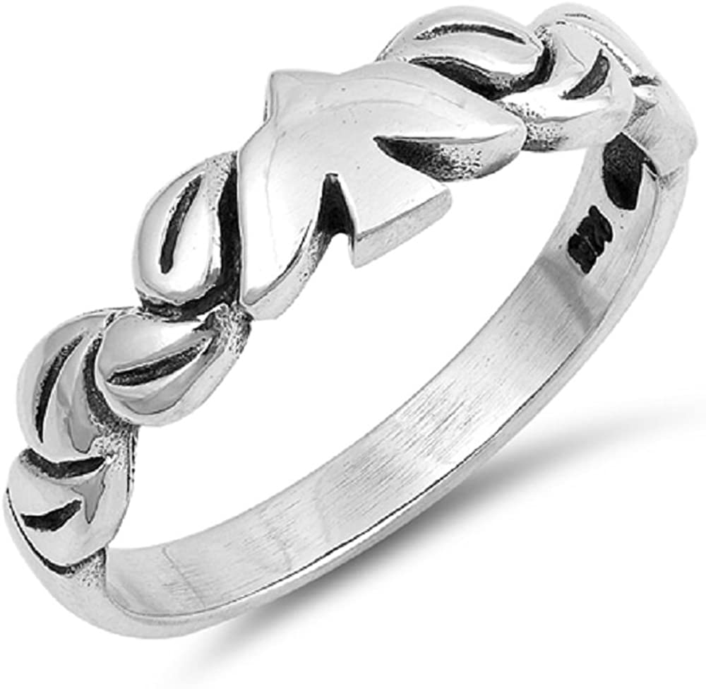 Princess Kylie Sterling Silver Plain Dove Leaves Band Ring