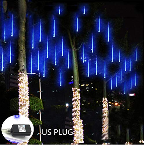 Weepong Falling Rain Lights UL Certified Meteor Shower Lights 30cm 8 Tubes 144 LED Rain Drop Lights Snow Falling Lights Cascading Icicle String Lights for Christmas Halloween Tree Garden Outdoor Blue (Blue Icicle Christmas Lights)