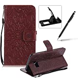 Wallet Case for Samsung Galaxy S6 Edge Plus,Strap Flip Case for Samsung Galaxy S6 Edge Plus,Herzzer Retro Elegant [Brown Mandala Flower Pattern] Stand Function Magnetic Smart Leather Case with Soft Inner for Samsung Galaxy S6 Edge Plus + 1 x Free Black Cel