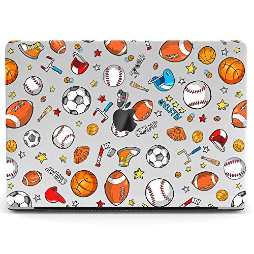 (Wonder Wild Mac Retina Cover Case For MacBook Pro 15 inch 12 11 Clear Hard Air 13 Apple 2019 Protective Laptop 2018 2017 2016 2015 Plastic Print Touch Bar Sport Pattern Football Sokker Ball Baseball)