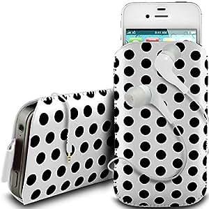 Online-Gadgets UK - Vodafone Smart 4 Mini PU cordón de cuero polca tirón diseño antideslizante ficha en caso de la bolsa con cierre rápido y 3.5mm Auriculares ergonómicos - Blanco