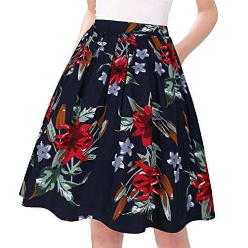 Taydey A-Line Pleated Vintage Skirts for Women (XL, Lily) - Gathered Trim Skirt