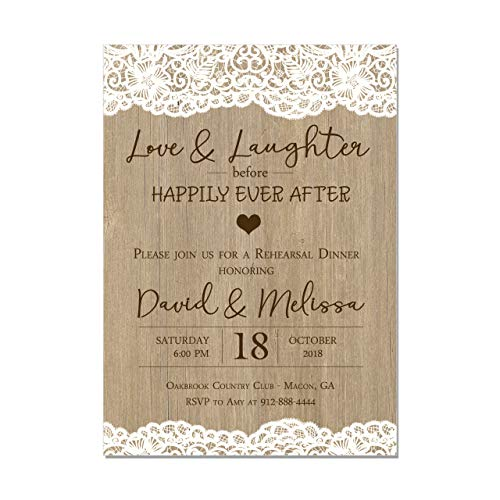 Rustic Wedding Rehearsal Dinner Invitation, Lace and Wood, Love and Laughter before Happily Ever After, Base price is for a Set of 10 Invitations with white envelopes