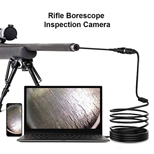 Rifle Bore Scope, 0.2 inch USB Gun Barrel Borescope with Side View Mirror, Barrel Endoscope with Short Focus Camera for .223 Caliber and Larger Bore Cleaning Inspections for Android Windows Mac Linux