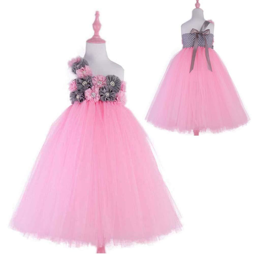 Pink Grey Flower Girls Wedding Dress Princess Evening Party Dresses Tulle Tutu Dress