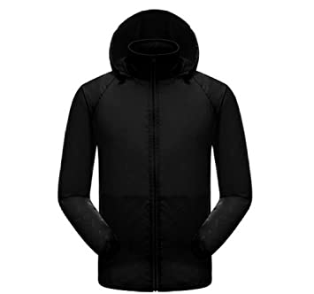 Amazon.com : Waterproof Unisex Black Jacket Lightweight Windproof ...
