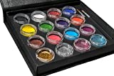 Bo Buggles Professional Face Paint Kit + 50 Stencils. Water-Based XL Face Painting Palette. Loved By Pro Painters For Vibrant Detailed Designs. 12x10 gram Paints, 4x10ml Glitters, 2 Brushes.