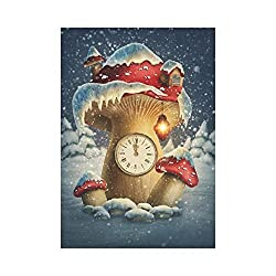 BoloHome Fantasy Mushroom House Clock Garden Flag Double Sided Outdoor Banner 28 x 40 inch, Winter Snow Holiday Decorative Large House Flags for Party Yard Home Decor, 100% Polyester
