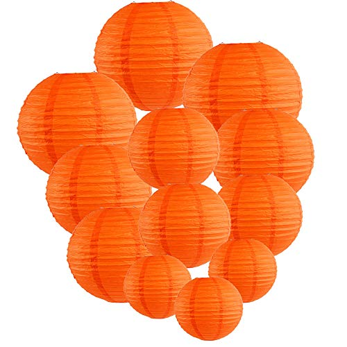 (Just Artifacts Decorative Round Chinese Paper Lanterns 12pcs Assorted Sizes (Color: Red)