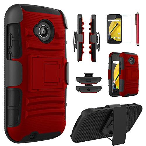Moto E2 Case,EC™ Heavy Duty Holster Shockproof Case Cover with Kickstand + Belt Swivel Clip for Motorola Moto E2 2nd Generation XT1527 / XT1511 2015 Release (Trade Phone)