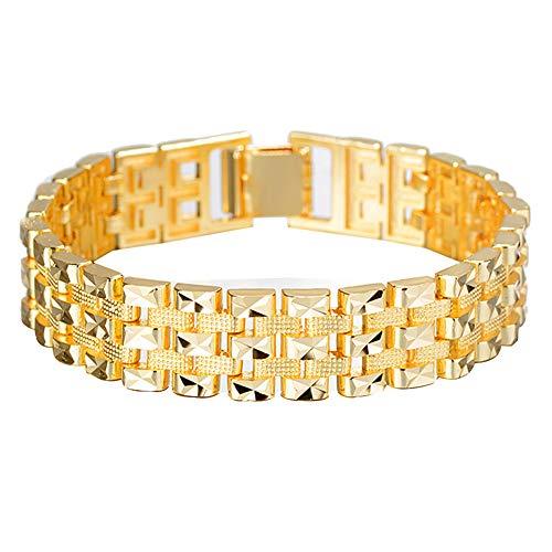 CACT CactusAngui Hombres de Moda en Relieve Cadena Ancha Reloj Pulsera Pulsera Brazalete joyería decoración Golden