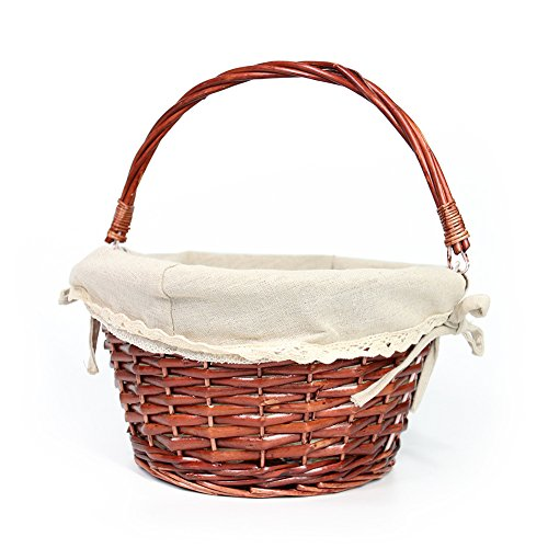 Flowers Easter Basket - OYPEIP(TM)Easter Basket Gift Basket Traditional Fashion Basket Kids Gift Basket Woven Willow Round Wicker Storage Basket With One Drop Down Handle Fabric Cotton Linen For Office, Bedroom, Closet, Toys