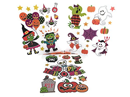 Children's Non-Scary Halloween Window Clings - 3 Sheets Include Friendly Ghosts, Witch, Monster, Skeleton and (Have A Scary Halloween)