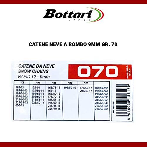 SMC Catene da Neve OMOLOGATE BOTTARI 9mm per Pneumatici 195 60 R15 Gruppo 70