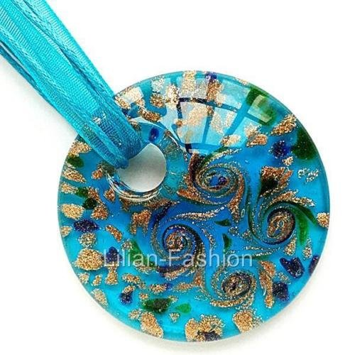 Gold Foil Aqua Round Lampwork Glass Murano Bead Pendant Ribbon Wax Necklace (Necklace Bead Foil Glass)