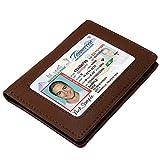 Aurdo Men's Rfid Protected Minimalist Bifold Slim Leather Brown Double Id Case