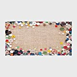 One Side Printing Hotel SPA Beach Pool Bath Hand Towel,Vintage Buttons Collection Fabric Texture Canvas Frame Sewing Needlecraft Contemporary Picture Light Brown,for Kids Teens and Adults