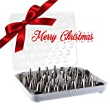 KitchenPRO 56-Piece Baking Decoration Set : Stainless Steel Cake Decorating Icing Dispenser Tip Kit with Plastic Tray for Storage