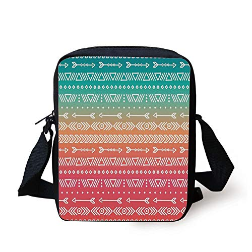 (Arrow Decor,Colored Geometric Ethnic Aztec and Maya Patterns and Arrows Bohemian Style Native Art,Multi Print Kids Crossbody Messenger Bag Purse )