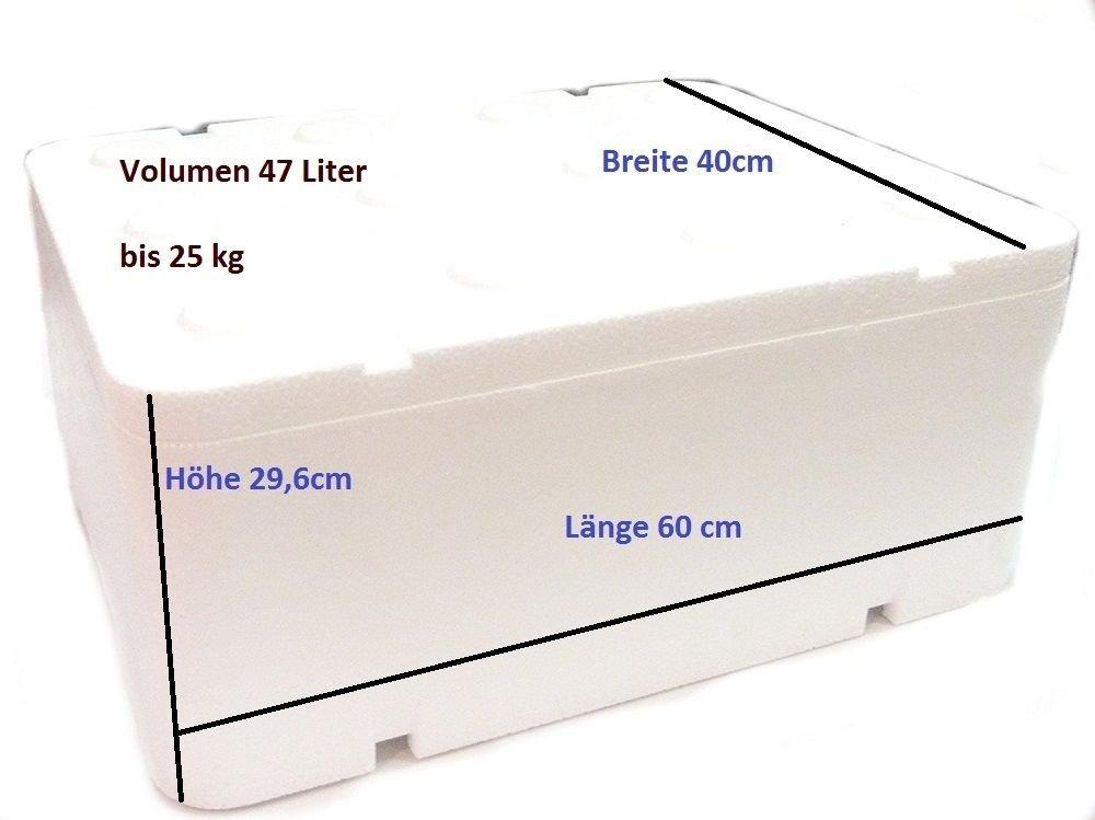 Caja térmica de poliestireno con tapa, 47,62l; 600 x 400 x 296mm, nevera portátil para acampar Prima