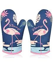 Oven Handschoenen Hittebestendig voor keuken, Oven Mitts Gauntlet Oven Handschoenen Cake/Koken/Magnetron/Pizza/Chef/Pot/Bbq/Keuken/Dubbele Oven Handschoenen Pot Houders met Dikke Voering 1 Paar Flamingo Oven Handschoen