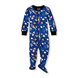 The Children's Place Baby Boys Novelty Printed One Piece Long Sleeve Footed Sleeper 2141083, Edge Blue, 0-3MONTHS
