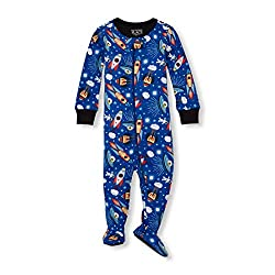 The Children's Place Baby Boys Novelty Printed One Piece Long Sleeve Footed Sleeper