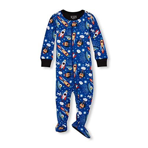 (The Children's Place Big Boys' Novelty Printed One Piece Long Sleeve Footed Sleeper, Edge Blue, 5T)