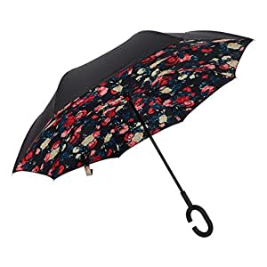 Ylovetoys Double Layer UV Proof and Windproof Inverted Umbrella for Car Outdoor (Red Flower)