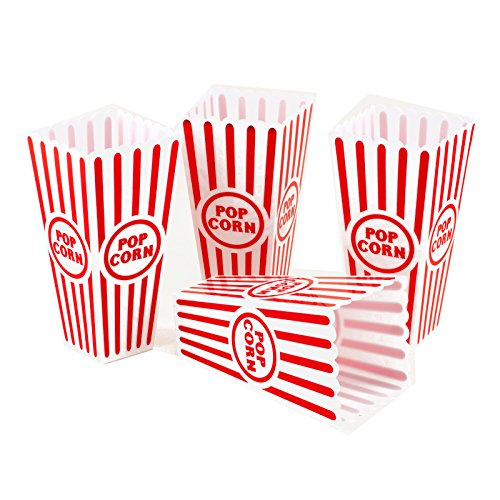 Tytroy 4 Piece Plastic Reusable Movie Theater Style Popcorn Container Set